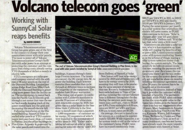 volcano telecom goes green